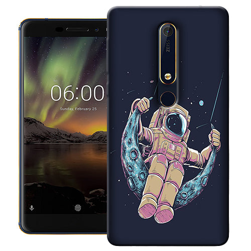 Digiprints Astranaut Riding Moon Printed Designer Back Case Cover For Nokia 6.1(2018)