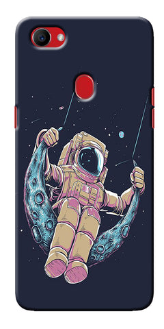 Digiprints Astranaut Riding Moon Printed Designer Back Case Cover For Oppo F7