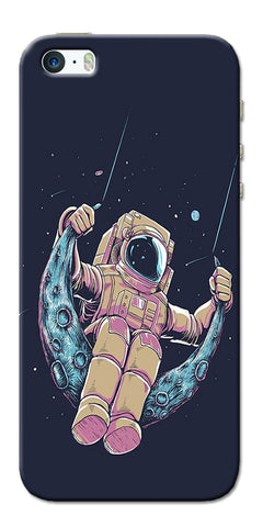 Digiprints Astranaut Riding Moon Printed Designer Back Case Cover For Apple iPhone 5
