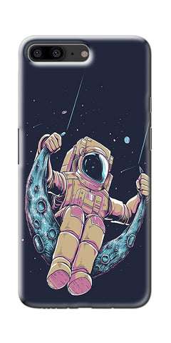 Astranaut Riding Moon Printed Designer Back Case Cover For OnePlus 5