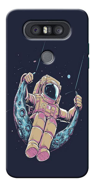 Astranaut Riding Moon Printed Designer Back Case Cover For LG Q8