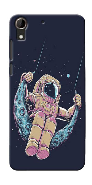 Astranaut Riding Moon Printed Designer Back Case Cover For HTC Desire 728