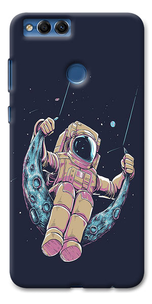 Digiprints Astranaut Riding Moon Printed Designer Back Case Cover For Huawei Honor 7X