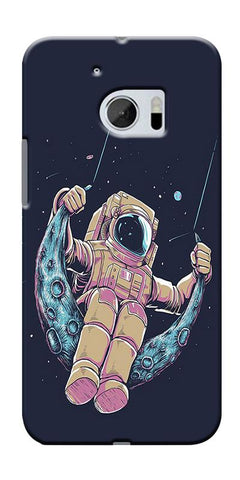 Astranaut Riding Moon Printed Designer Back Case Cover For HTC 10