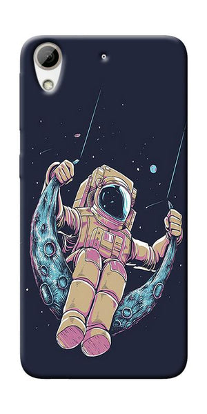 Astranaut Riding Moon Printed Designer Back Case Cover For HTC Desire 826