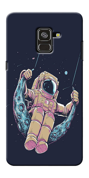 Astranaut Riding Moon Printed Designer Back Case Cover For Samsung Galaxy A8 Plus 2018