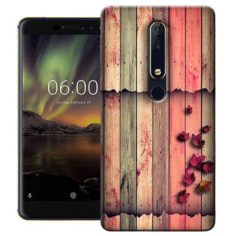 Digiprints Spring Wood Pattern Printed Designer Back Case Cover For Nokia 6.1(2018)