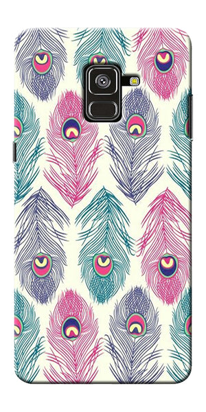 Colorful Feathers Printed Designer Back Case Cover For Samsung Galaxy A8 Plus 2018