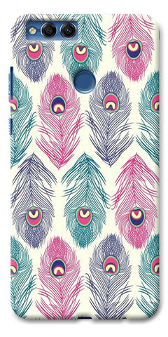 Digiprints Colorful Feathers Printed Designer Back Case Cover For Huawei Honor 7X