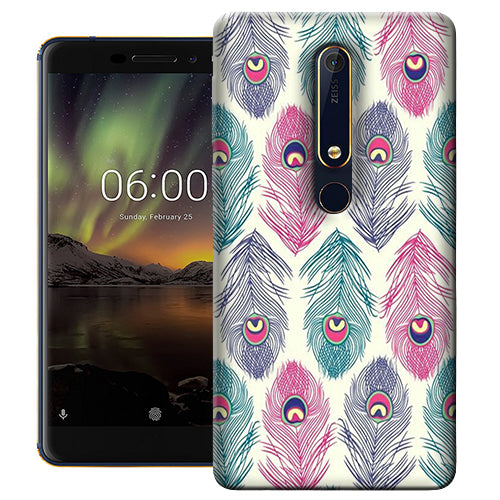 Digiprints Colorful Feathers Printed Designer Back Case Cover For Nokia 6.1(2018)
