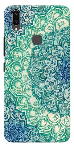 Green Ethnic Pattern Printed Designer Back Case Cover For Vivo V9