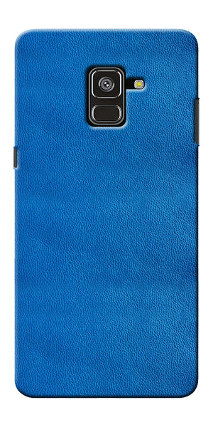 Blue Leather Pattern Printed Designer Back Case Cover For Samsung Galaxy A8 Plus 2018