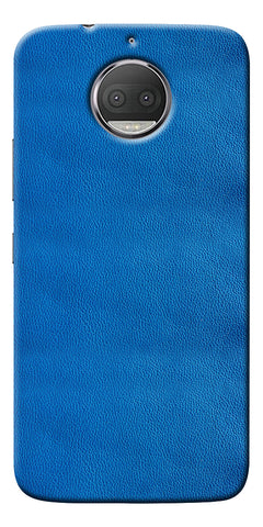 Blue Leather Pattern Printed Designer Back Case Cover For Motorola Moto G5S Plus