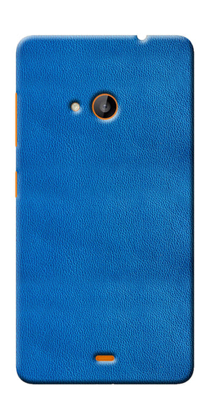Digiprints Blue Leather Pattern Printed Designer Back Case Cover For Microsoft Lumia 540