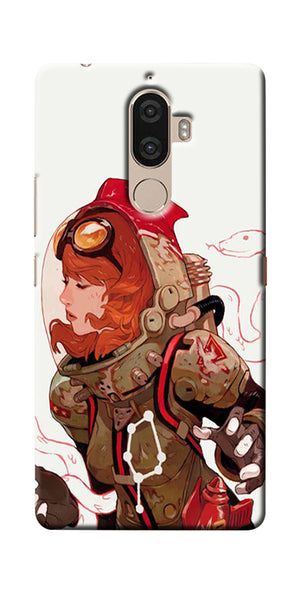 Digiprints Space Pin Up Girl Printed Designer Back Case Cover For Lenovo K8 Plus