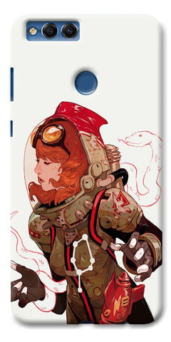 Digiprints Space Pin Up Girl Printed Designer Back Case Cover For Huawei Honor 7X
