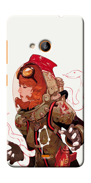 Digiprints Space Pin Up Girl Printed Designer Back Case Cover For Microsoft Lumia 540