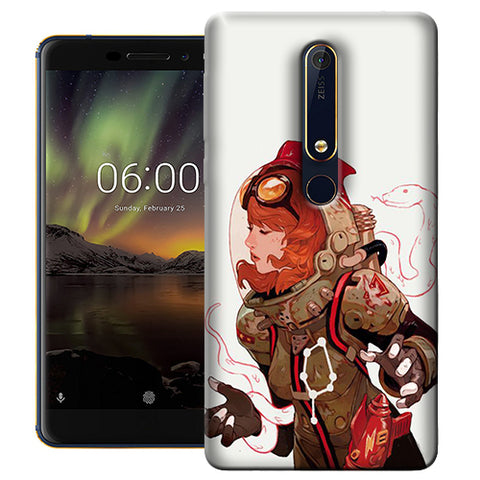 Digiprints Space Pin Up Girl Printed Designer Back Case Cover For Nokia 6.1(2018)