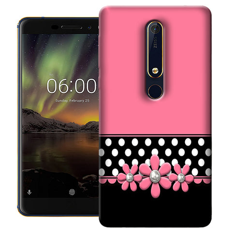 Digiprints Pink Black Girly Design Printed Designer Back Case Cover For Nokia 6.1(2018)