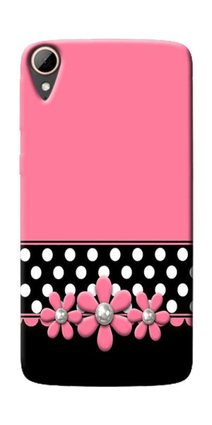 Pink Black Girly Design Printed Designer Back Case Cover For HTC Desire 828
