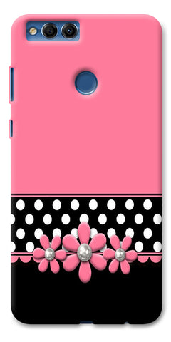 Digiprints Pink Black Girly Design Printed Designer Back Case Cover For Huawei Honor 7X