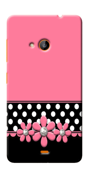 Digiprints Pink Black Girly Design Printed Designer Back Case Cover For Microsoft Lumia 540