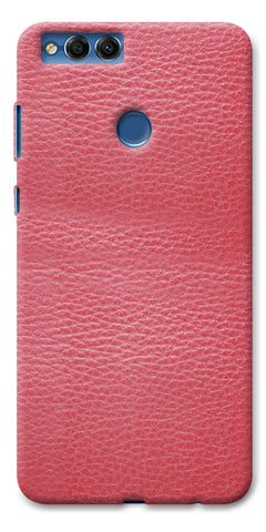 Digiprints Pink Leather Design Printed Designer Back Case Cover For Huawei Honor 7X