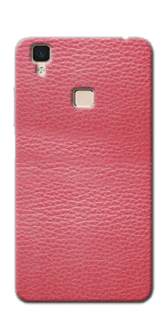 Digiprints Pink Leather Design Printed Designer Back Case Cover For Vivo V3