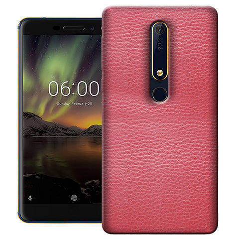 Digiprints Pink Leather Design Printed Designer Back Case Cover For Nokia 6.1(2018)