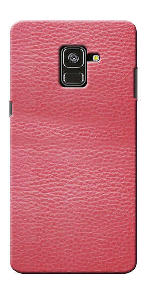 Pink Leather Design Printed Designer Back Case Cover For Samsung Galaxy A8 Plus 2018