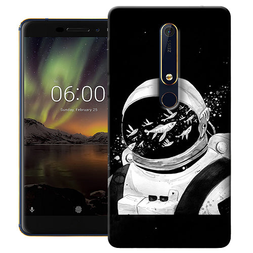 Digiprints Fish And Astranaut Art Printed Designer Back Case Cover For Nokia 6.1(2018)