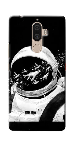 Digiprints Fish And Astranaut Art Printed Designer Back Case Cover For Lenovo K8 Plus