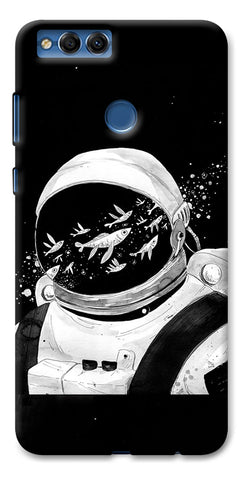 Digiprints Fish And Astranaut Art Printed Designer Back Case Cover For Huawei Honor 7X