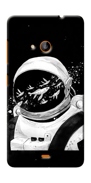 Digiprints Fish And Astranaut Art Printed Designer Back Case Cover For Microsoft Lumia 540
