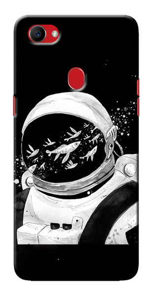Digiprints Fish And Astranaut Art Printed Designer Back Case Cover For Oppo F7