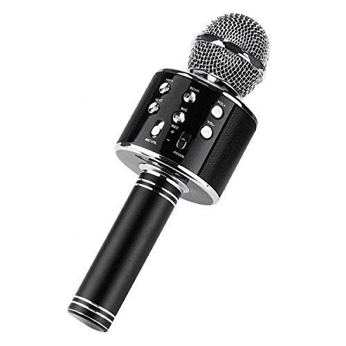 Ws-858 Wireless Bluetooth Microphone Recording Condenser Handheld Microphone Stand with Bluetooth Speaker Audio Recording (Black)
