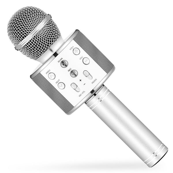 WS-858 Wireless Bluetooth Microphone Recording with Bluetooth Speaker Audio Recording-Silver