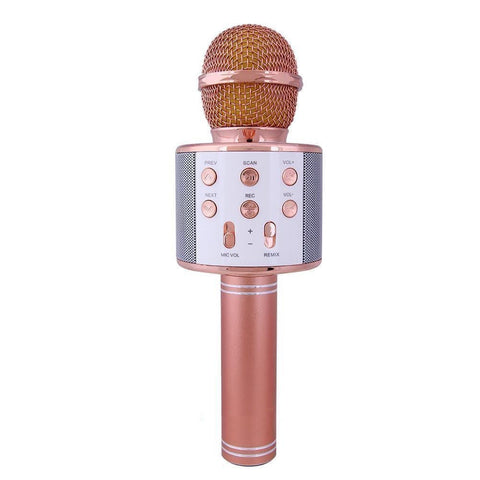 WS-858 Wireless Bluetooth Microphone Recording with Bluetooth Speaker Audio Recording-Rose Gold