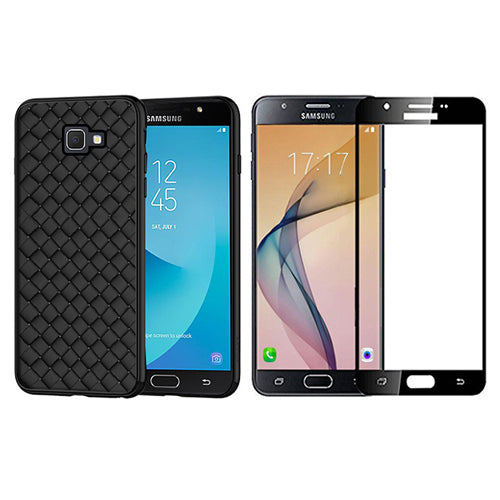 Digiprints Combo TPU Soft Flexible Shock Proof Back Cover Plus Black Tempered Glass For Samsung Galaxy J7 Prime