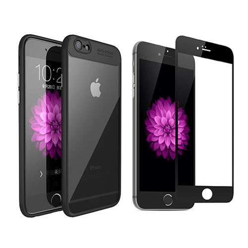 Digiprints Combo Soft Silicon Bumper With Hard Transparent Also With Black Tempered Glass For Apple iPhone 8
