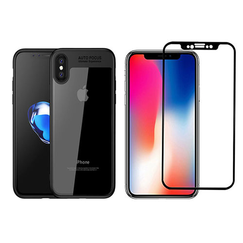Digiprints Combo Soft Silicon Bumper With Hard Transparent Also With Black Tempered Glass For Apple iPhone X