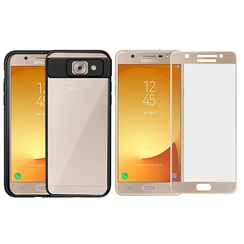 Digiprints Combo Soft Silicon Bumper With Hard Transparent Pc Also With Gold Tempered Glass For Samsung Galaxy J7 Max