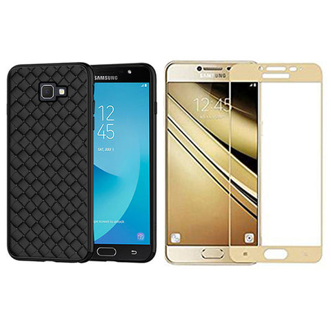 Digiprints Combo TPU Soft Flexible Shock Proof Back Cover Plus Gold Tempered Glass For Samsung Galaxy J7 Prime
