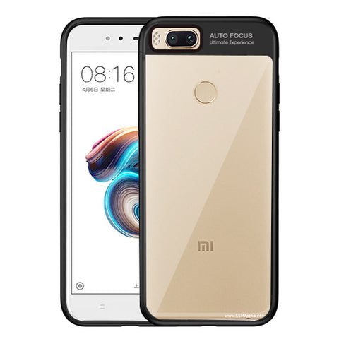 Digiprints Soft Silicon Bumper With Hard Transparent Pc Mobile Back Cover For Xiaomi Mi A1-Black