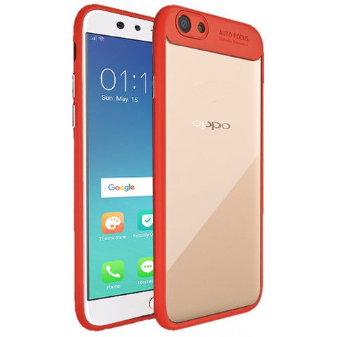 Digiprints Soft Silicon Bumper With Hard Transparent Pc Mobile Back Cover For Oppo F3-Red