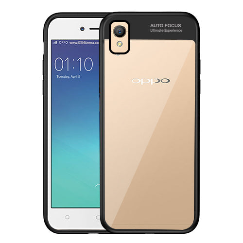 Digiprints Soft Silicon Bumper With Hard Transparent Pc Mobile Back Cover For Oppo A37-Black
