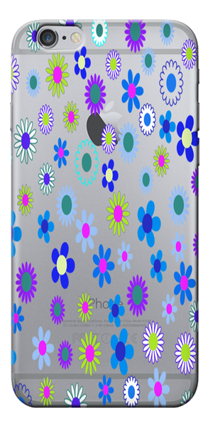 Blue Floral Pattern Designer Clear Case For Apple Iphone 6