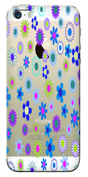 Blue Floral Pattern Designer Clear Case For Apple Iphone 5