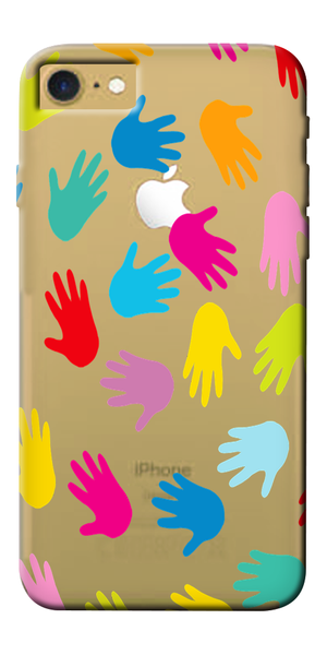 Colorful Hand Designer Clear Case For Apple Iphone 7