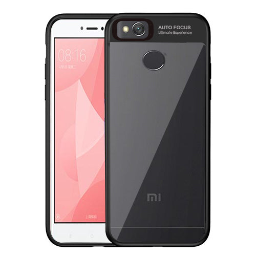 Digiprints Soft Silicon Bumper With Hard Transparent Pc Mobile Back Cover For Xiaomi Redmi 4-Black